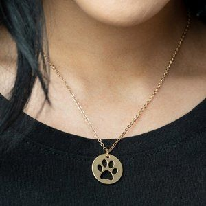 Think PAW-sitive - Gold Necklace